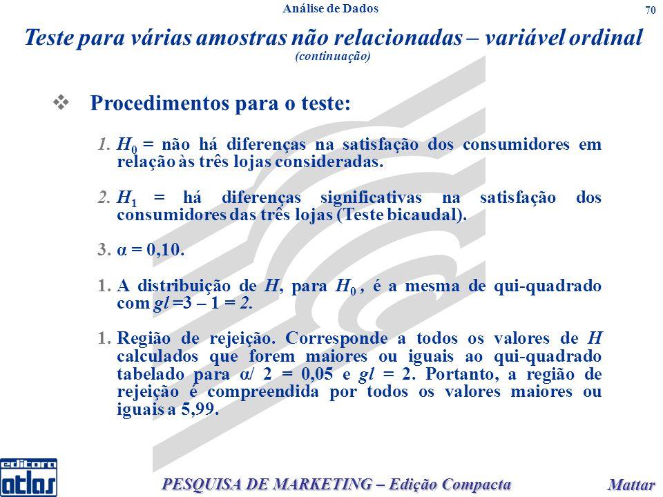 PESQUISA DE MARKETING – Edição Compacta Mattar Mattar 70 Procedimentos para o teste: 1.H 0 = não há diferenças na satisfação dos consumidores em relaç