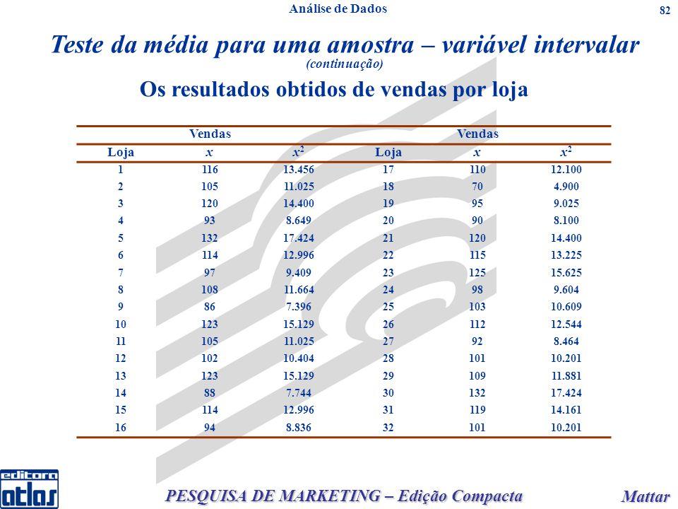 PESQUISA DE MARKETING – Edição Compacta Mattar Mattar 82 Os resultados obtidos de vendas por loja Vendas Lojaxx2x2 xx2x2 111613.4561711012.100 210511.