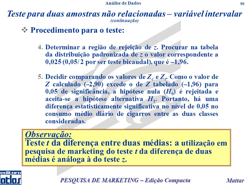 PESQUISA DE MARKETING – Edição Compacta Mattar Mattar 90 Procedimento para o teste: 4.Determinar a região de rejeição de z. Procurar na tabela da dist