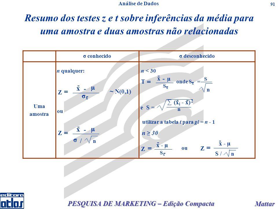 PESQUISA DE MARKETING – Edição Compacta Mattar Mattar 91 Resumo dos testes z e t sobre inferências da média para uma amostra e duas amostras não relac