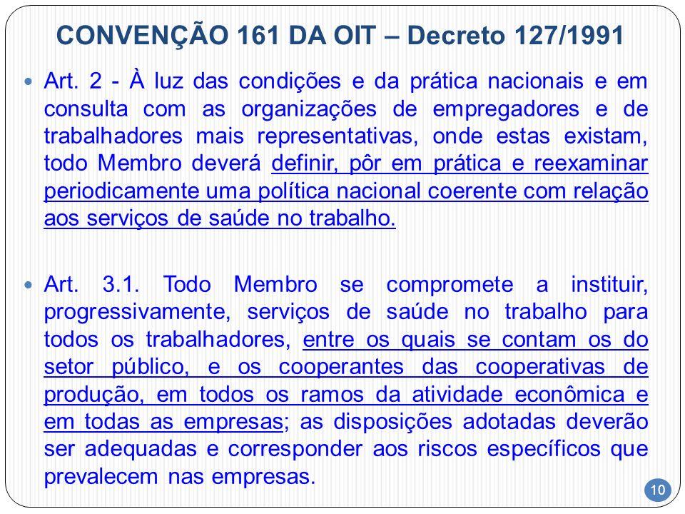 10 CONVENÇÃO 161 DA OIT – Decreto 127/1991 Art. 2 - À luz das condições e da prática nacionais e em consulta com as organizações de empregadores e de