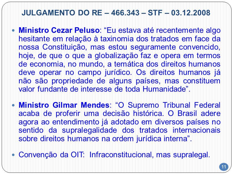11 JULGAMENTO DO RE – 466.343 – STF – 03.12.2008 Ministro Cezar Peluso: Eu estava até recentemente algo hesitante em relação à taxinomia dos tratados