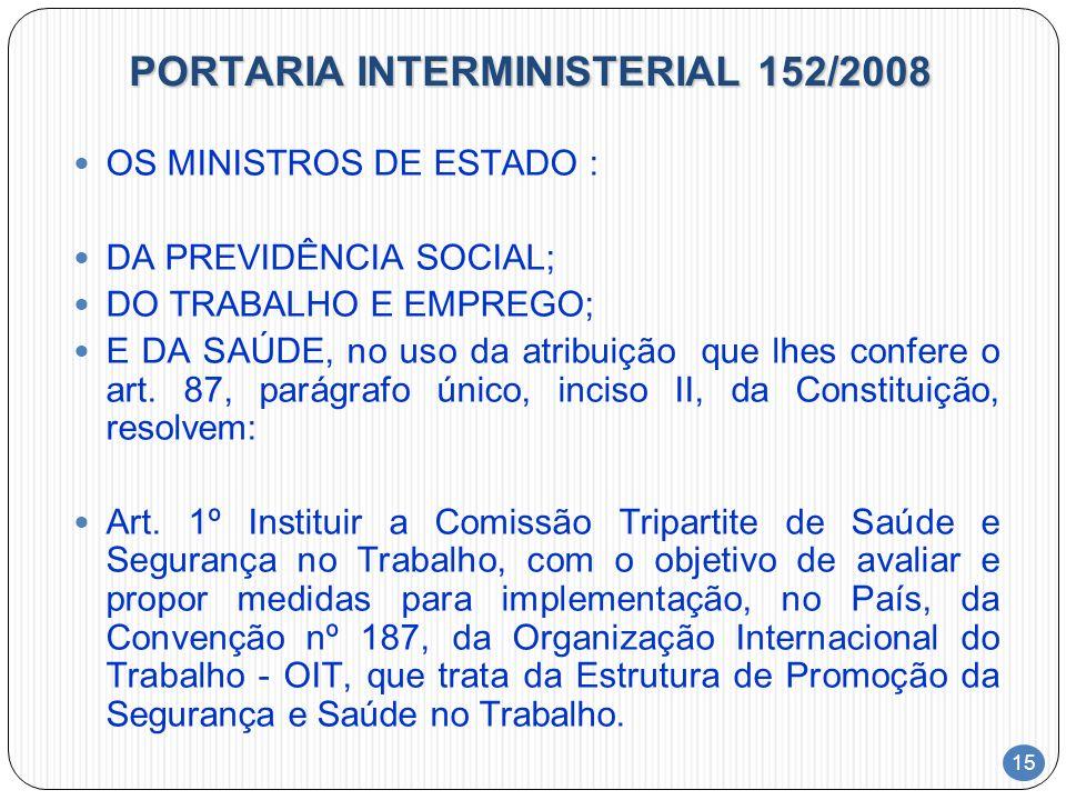 15 PORTARIA INTERMINISTERIAL 152/2008 OS MINISTROS DE ESTADO : DA PREVIDÊNCIA SOCIAL; DO TRABALHO E EMPREGO; E DA SAÚDE, no uso da atribuição que lhes