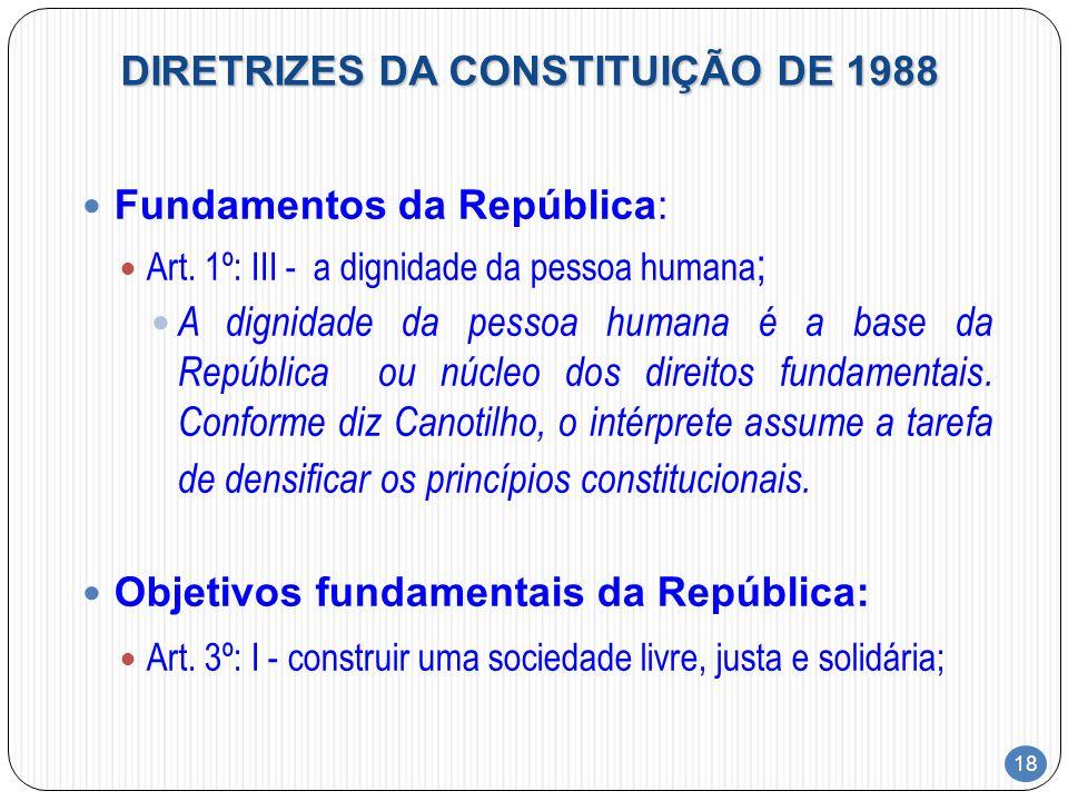 18 DIRETRIZES DA CONSTITUIÇÃO DE 1988 Fundamentos da República: Art. 1º: III - a dignidade da pessoa humana ; A dignidade da pessoa humana é a base da