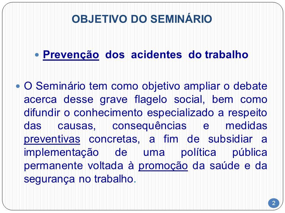 2 OBJETIVO DO SEMINÁRIO Prevenção dos acidentes do trabalho O Seminário tem como objetivo ampliar o debate acerca desse grave flagelo social, bem como