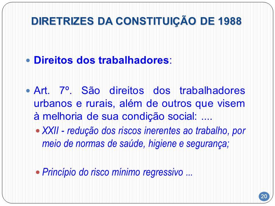 20 DIRETRIZES DA CONSTITUIÇÃO DE 1988 Direitos dos trabalhadores: Art. 7º. São direitos dos trabalhadores urbanos e rurais, além de outros que visem à