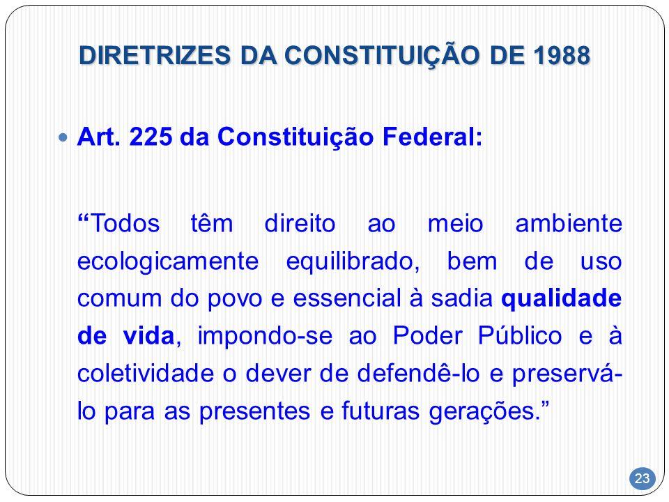 23 DIRETRIZES DA CONSTITUIÇÃO DE 1988 Art. 225 da Constituição Federal: Todos têm direito ao meio ambiente ecologicamente equilibrado, bem de uso comu