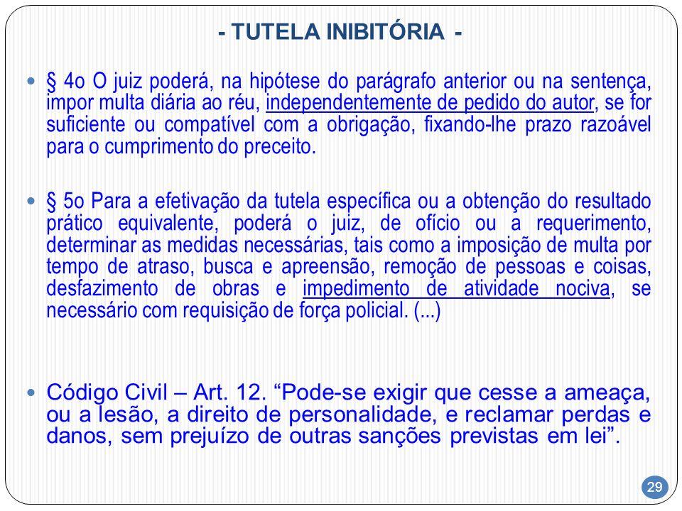 29 - TUTELA INIBITÓRIA - § 4o O juiz poderá, na hipótese do parágrafo anterior ou na sentença, impor multa diária ao réu, independentemente de pedido
