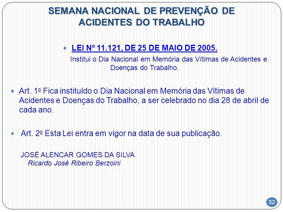 32 SEMANA NACIONAL DE PREVENÇÃO DE ACIDENTES DO TRABALHO LEI Nº 11.121, DE 25 DE MAIO DE 2005. Institui o Dia Nacional em Memória das Vítimas de Acide