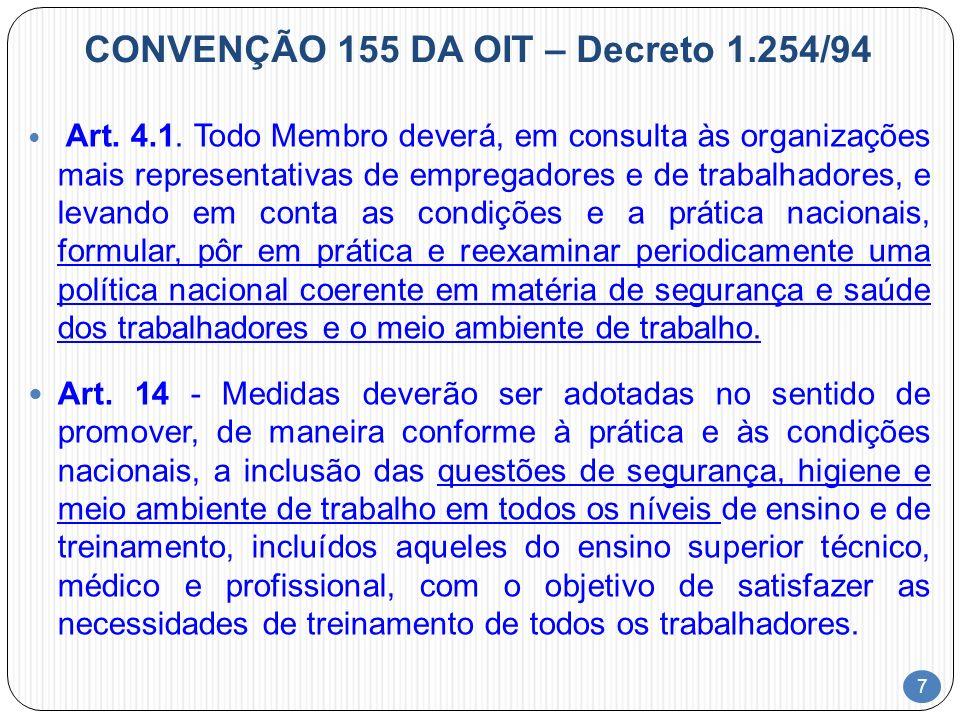 7 CONVENÇÃO 155 DA OIT – Decreto 1.254/94 Art. 4.1. Todo Membro deverá, em consulta às organizações mais representativas de empregadores e de trabalha