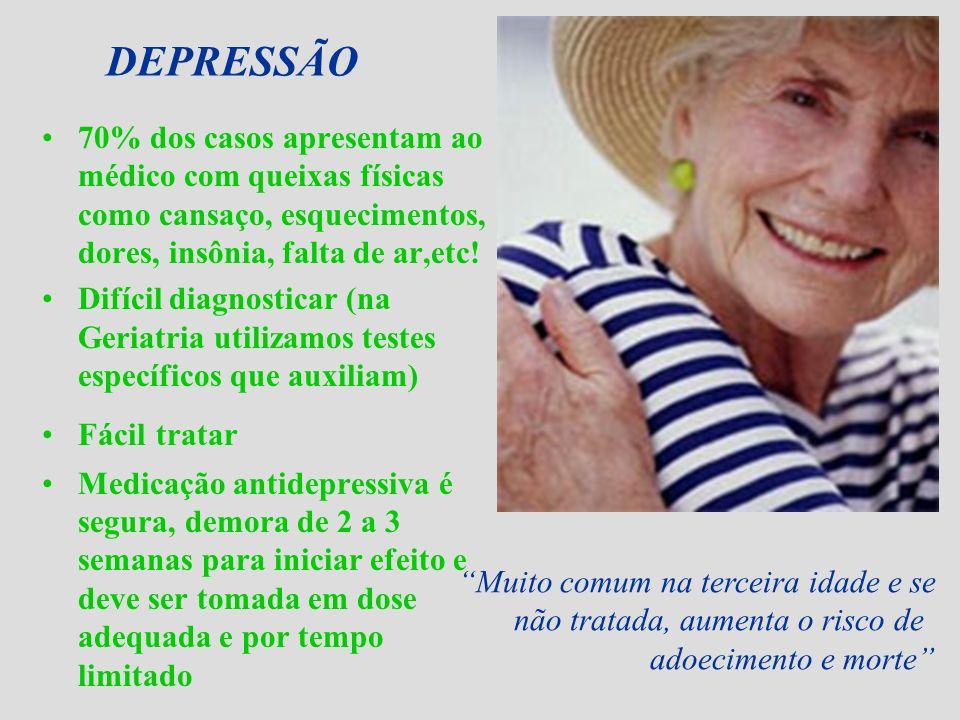 DEPRESSÃO 70% dos casos apresentam ao médico com queixas físicas como cansaço, esquecimentos, dores, insônia, falta de ar,etc! Difícil diagnosticar (n