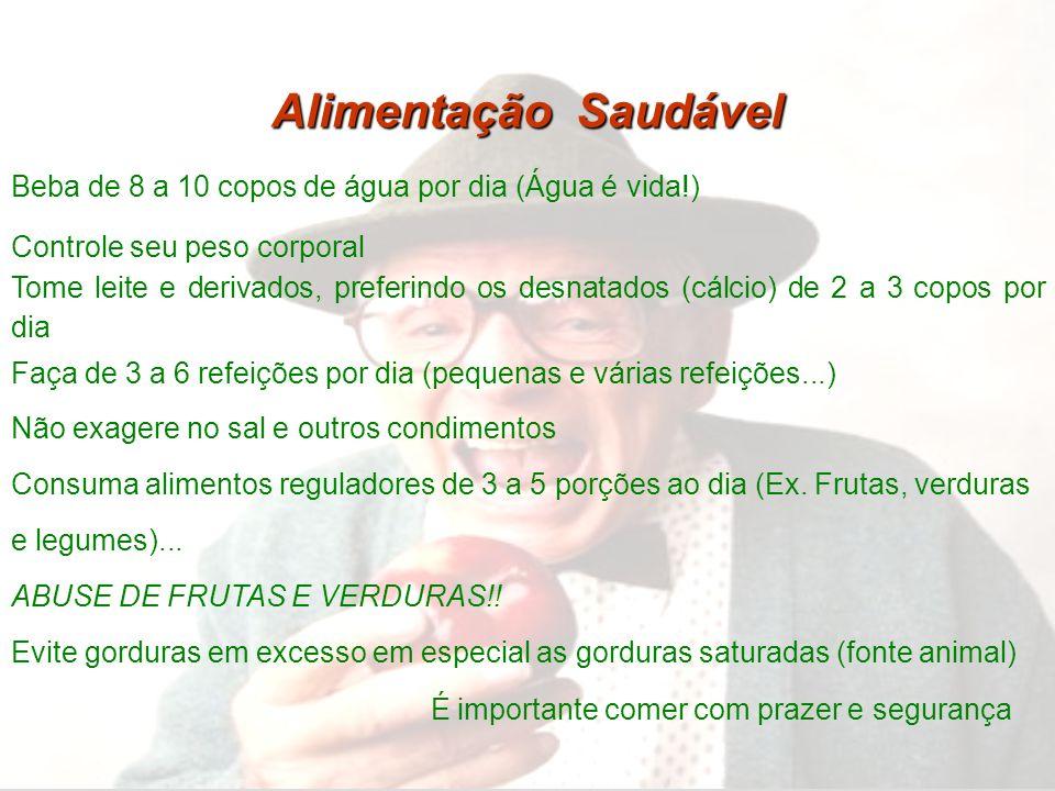 Alimentação Saudável Beba de 8 a 10 copos de água por dia (Água é vida!) Controle seu peso corporal Tome leite e derivados, preferindo os desnatados (
