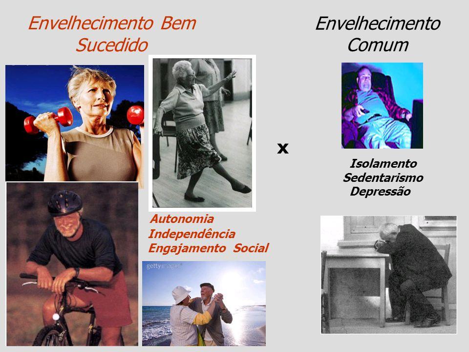 Envelhecimento Bem Sucedido Envelhecimento Comum Autonomia Independência Engajamento Social Isolamento Sedentarismo Depressão x