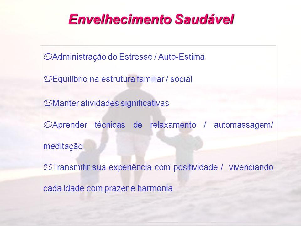 Envelhecimento Saudável aAdministração do Estresse / Auto-Estima aEquilíbrio na estrutura familiar / social aManter atividades significativas aAprende