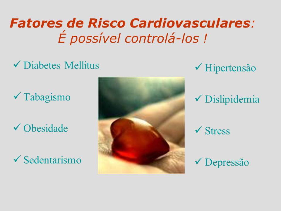 Fatores de Risco Cardiovasculares: É possível controlá-los ! Diabetes Mellitus Tabagismo Obesidade Sedentarismo Hipertensão Dislipidemia Stress Depres