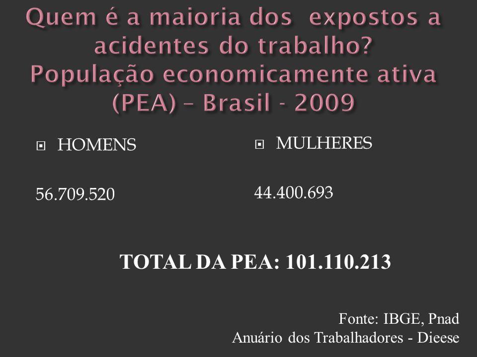 HOMENS 56.709.520 MULHERES 44.400.693 TOTAL DA PEA: 101.110.213 Fonte: IBGE, Pnad Anuário dos Trabalhadores - Dieese