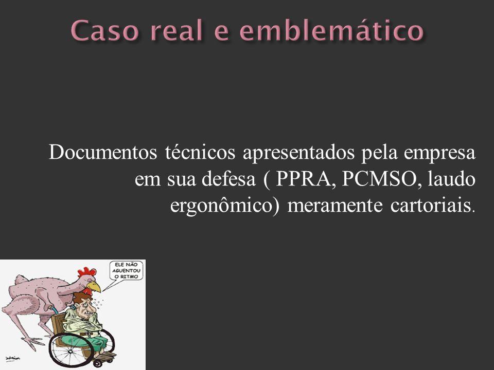Documentos técnicos apresentados pela empresa em sua defesa ( PPRA, PCMSO, laudo ergonômico) meramente cartoriais.