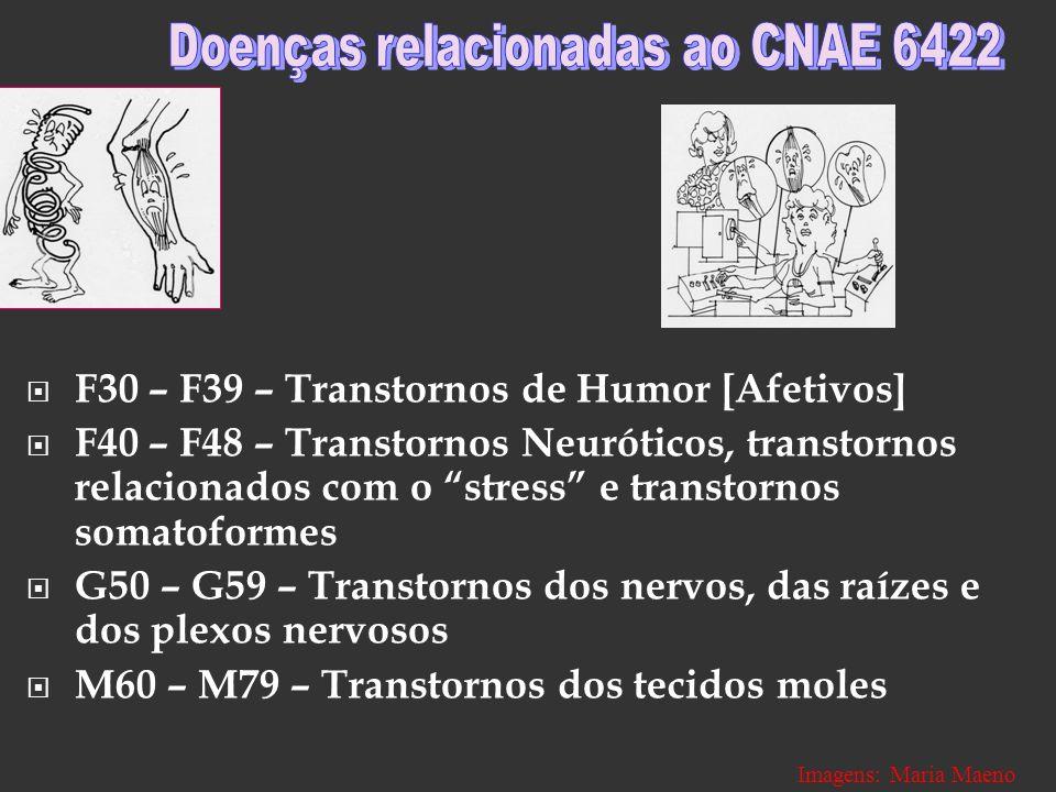 F30 – F39 – Transtornos de Humor [Afetivos] F40 – F48 – Transtornos Neuróticos, transtornos relacionados com o stress e transtornos somatoformes G50 –