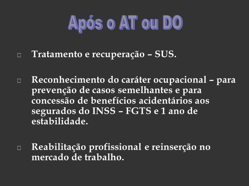 Tratamento e recuperação – SUS. Reconhecimento do caráter ocupacional – para prevenção de casos semelhantes e para concessão de benefícios acidentário