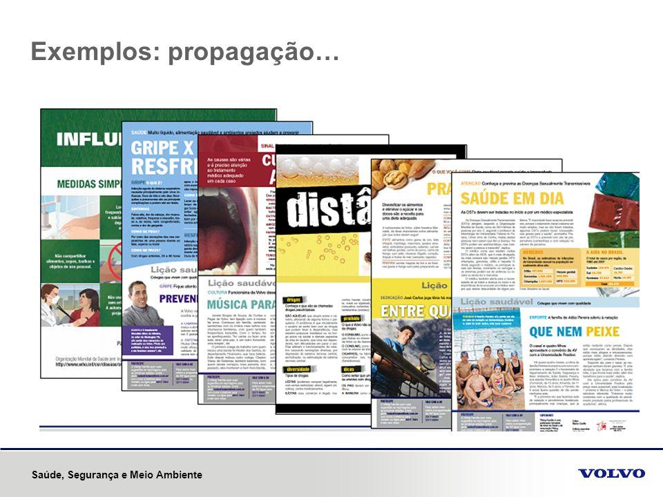 Exemplos: propagação… Saúde, Segurança e Meio Ambiente
