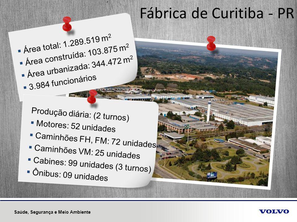 Fábrica de Curitiba - PR Área total: 1.289.519 m 2 Área construída: 103.875 m 2 Área urbanizada: 344.472 m 2 3.984 funcionários Produção diária: (2 tu