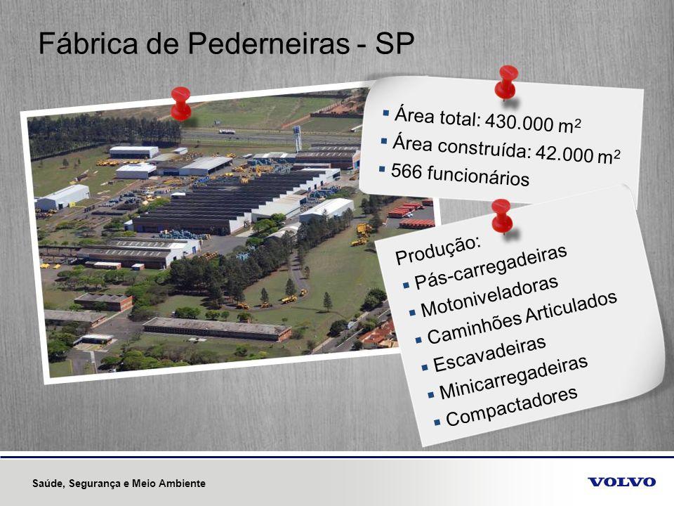 Fábrica de Pederneiras - SP Área total: 430.000 m 2 Área construída: 42.000 m 2 566 funcionários Produção: Pás-carregadeiras Motoniveladoras Caminhões