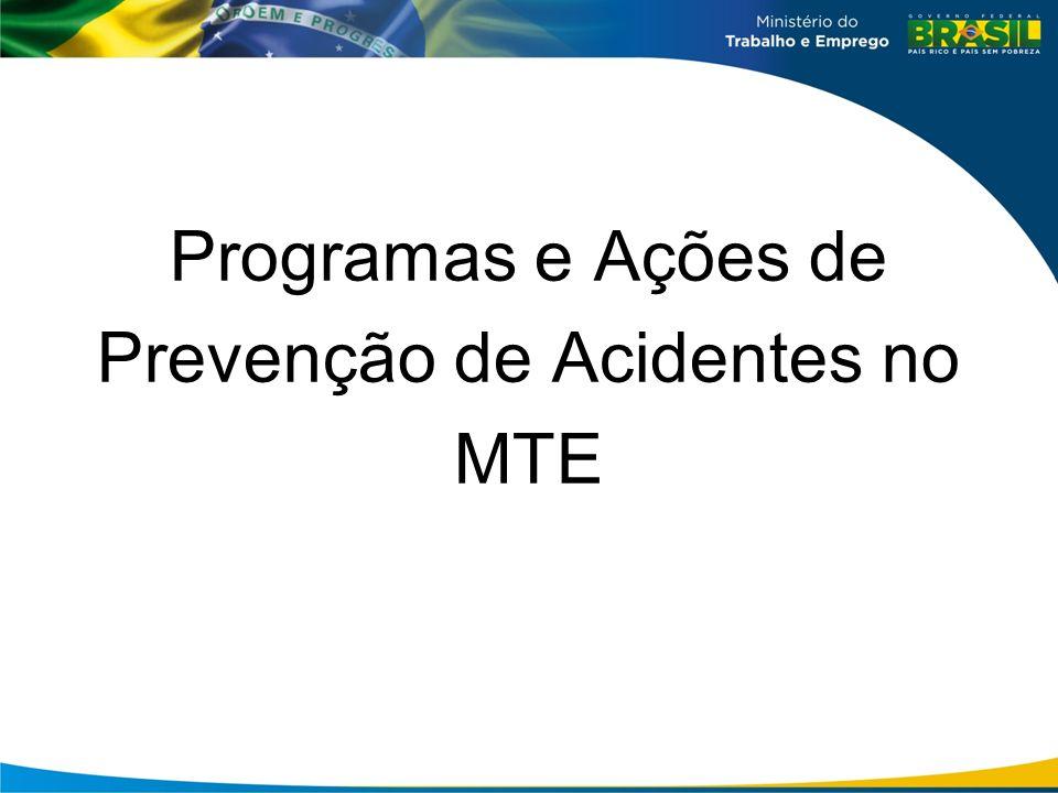 PPA 2012-2015 Programa 2071 – Trabalho, Emprego e Renda Objetivo 0293 - Promover a segurança e saúde no trabalho, de modo a prevenir doenças e acidentes.