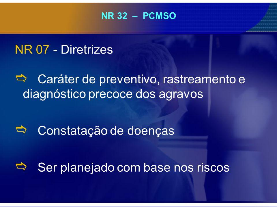 NR 32 – PCMSO NR 07 - Diretrizes Caráter de preventivo, rastreamento e diagnóstico precoce dos agravos Constatação de doenças Ser planejado com base nos riscos