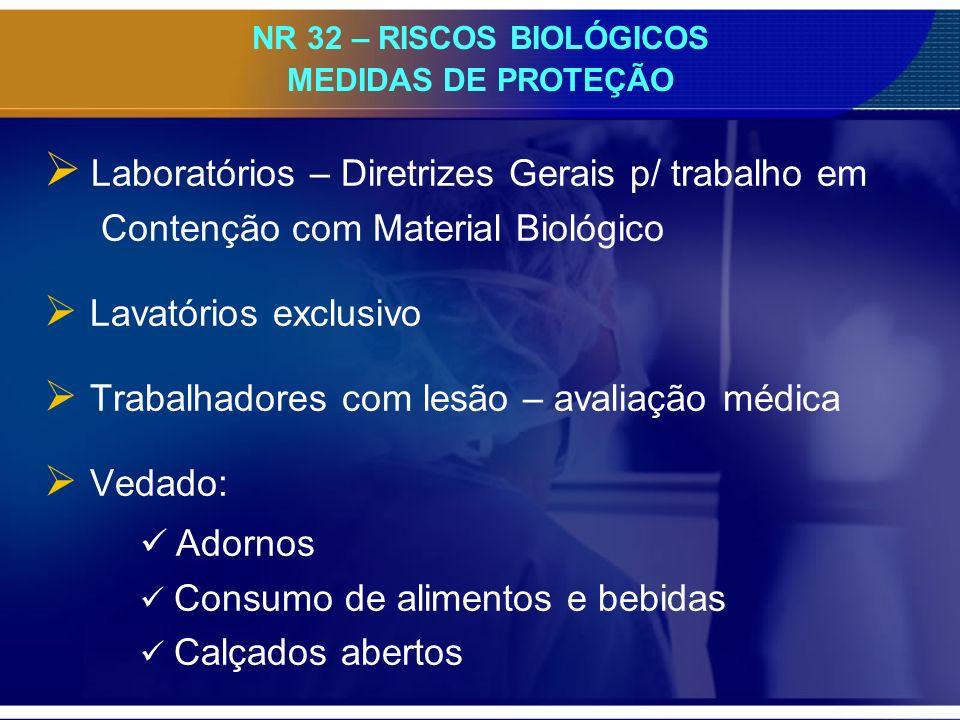 NR 32 – RISCOS BIOLÓGICOS MEDIDAS DE PROTEÇÃO Laboratórios – Diretrizes Gerais p/ trabalho em Contenção com Material Biológico Lavatórios exclusivo Tr