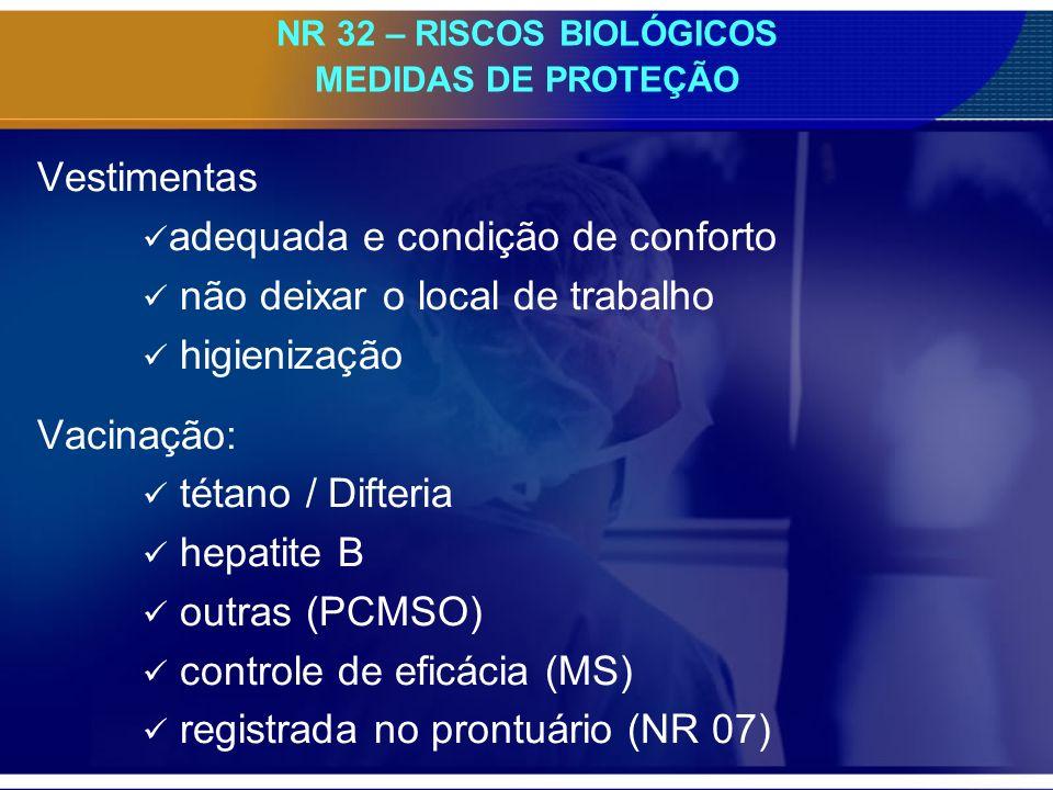 NR 32 – RISCOS BIOLÓGICOS MEDIDAS DE PROTEÇÃO Vestimentas adequada e condição de conforto não deixar o local de trabalho higienização Vacinação: tétano / Difteria hepatite B outras (PCMSO) controle de eficácia (MS) registrada no prontuário (NR 07)