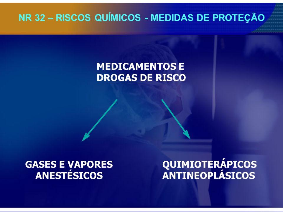 NR 32 – RISCOS QUÍMICOS - MEDIDAS DE PROTEÇÃO MEDICAMENTOS E DROGAS DE RISCO GASES E VAPORES ANESTÉSICOS QUIMIOTERÁPICOS ANTINEOPLÁSICOS