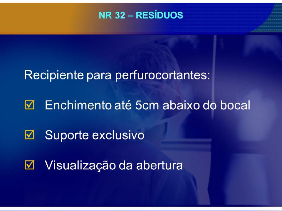 NR 32 – RESÍDUOS Recipiente para perfurocortantes: Enchimento até 5cm abaixo do bocal Suporte exclusivo Visualização da abertura