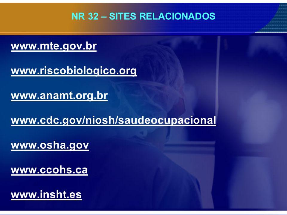NR 32 – SITES RELACIONADOS www.mte.gov.br www.riscobiologico.org www.anamt.org.br www.cdc.gov/niosh/saudeocupacional www.osha.gov www.ccohs.ca www.ins
