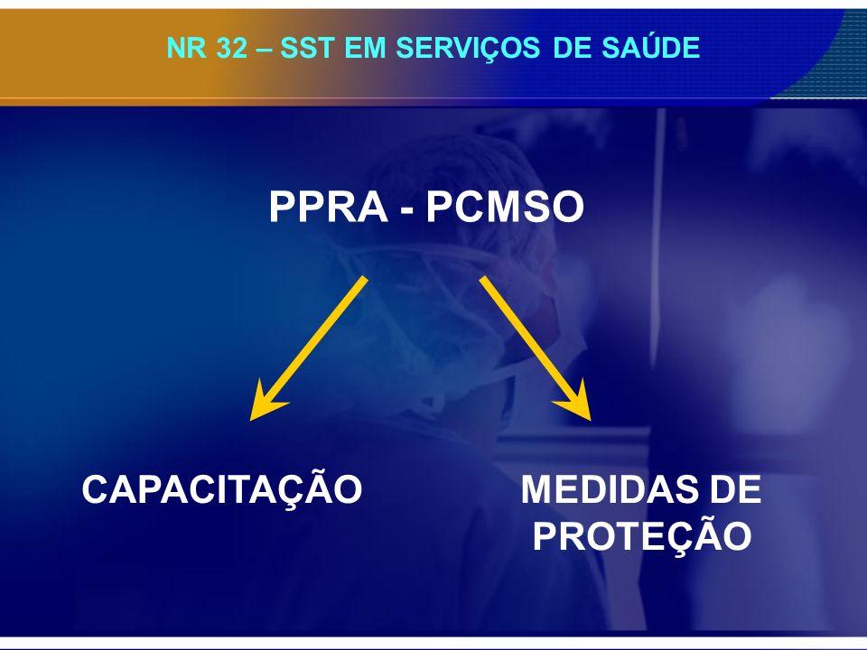 NR 32 – SST EM SERVIÇOS DE SAÚDE PPRA - PCMSO MEDIDAS DE PROTEÇÃO CAPACITAÇÃO