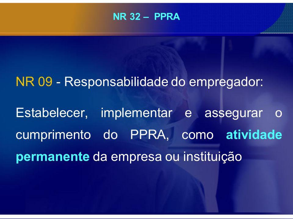 NR 32 – PPRA NR 09 - Responsabilidade do empregador: Estabelecer, implementar e assegurar o cumprimento do PPRA, como atividade permanente da empresa ou instituição