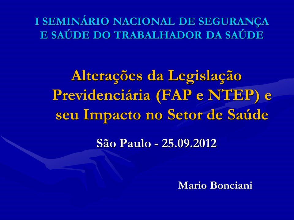 I SEMINÁRIO NACIONAL DE SEGURANÇA E SAÚDE DO TRABALHADOR DA SAÚDE Alterações da Legislação Previdenciária (FAP e NTEP) e seu Impacto no Setor de Saúde