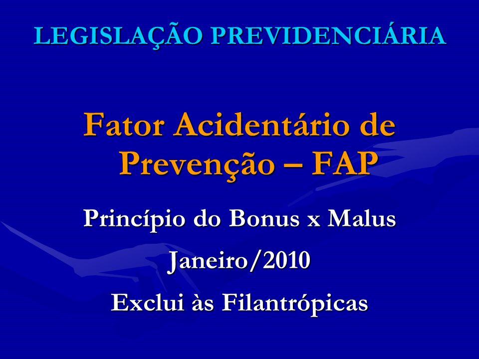 LEGISLAÇÃO PREVIDENCIÁRIA Fator Acidentário de Prevenção – FAP Princípio do Bonus x Malus Janeiro/2010 Exclui às Filantrópicas