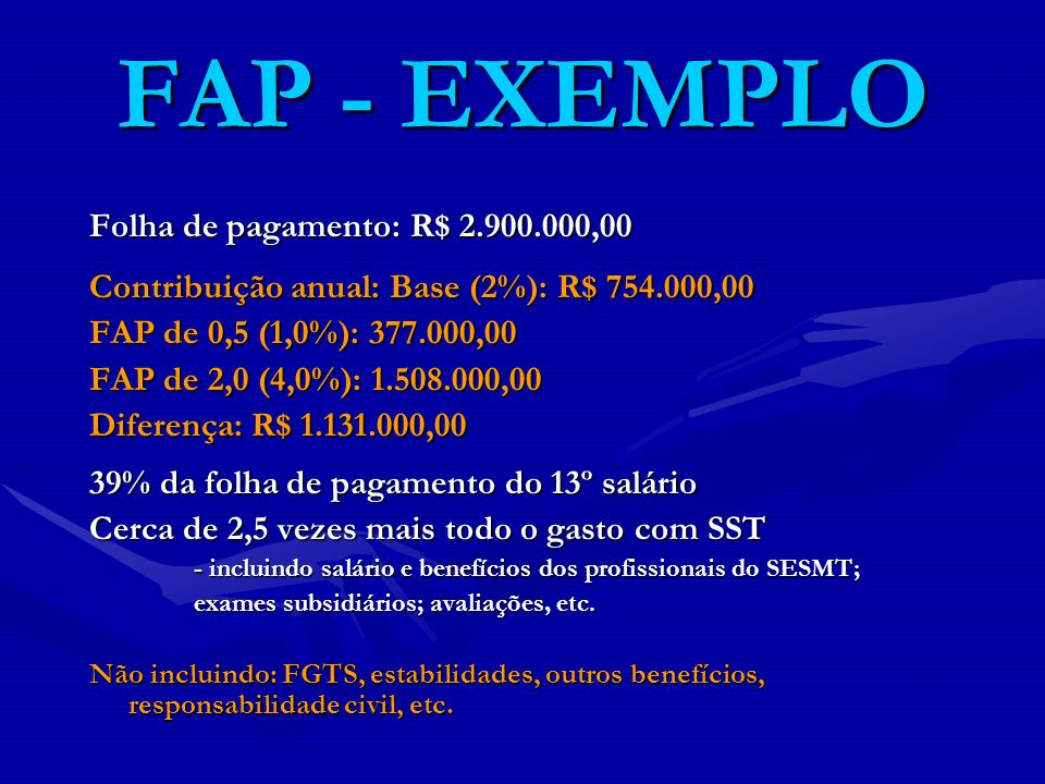 FAP - EXEMPLO Folha de pagamento: R$ 2.900.000,00 Contribuição anual: Base (2%): R$ 754.000,00 FAP de 0,5 (1,0%): 377.000,00 FAP de 2,0 (4,0%): 1.508.