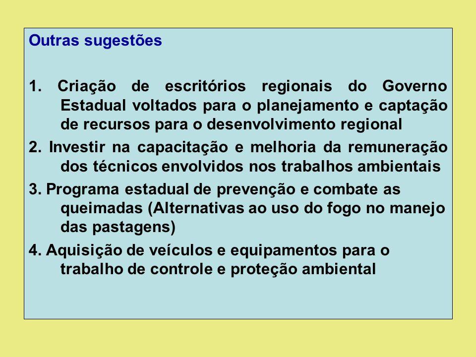 Outras sugestões 1. Criação de escritórios regionais do Governo Estadual voltados para o planejamento e captação de recursos para o desenvolvimento re