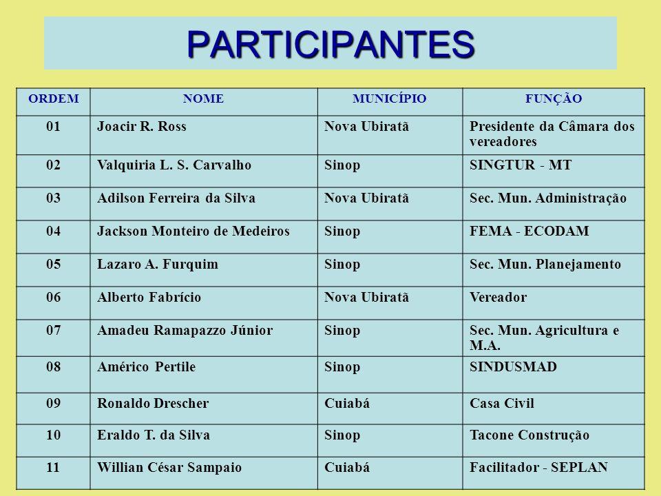 PARTICIPANTES ORDEMNOMEMUNICÍPIOFUNÇÃO 01Joacir R.