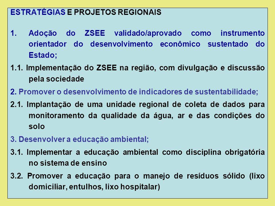 ESTRATÉGIAS E PROJETOS REGIONAIS 1.Adoção do ZSEE validado/aprovado como instrumento orientador do desenvolvimento econômico sustentado do Estado; 1.1