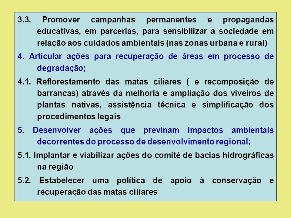 3.3. Promover campanhas permanentes e propagandas educativas, em parcerias, para sensibilizar a sociedade em relação aos cuidados ambientais (nas zona