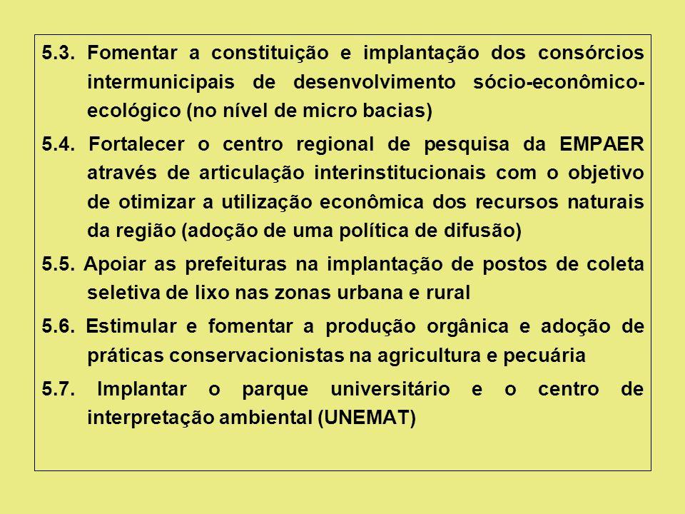 5.3. Fomentar a constituição e implantação dos consórcios intermunicipais de desenvolvimento sócio-econômico- ecológico (no nível de micro bacias) 5.4