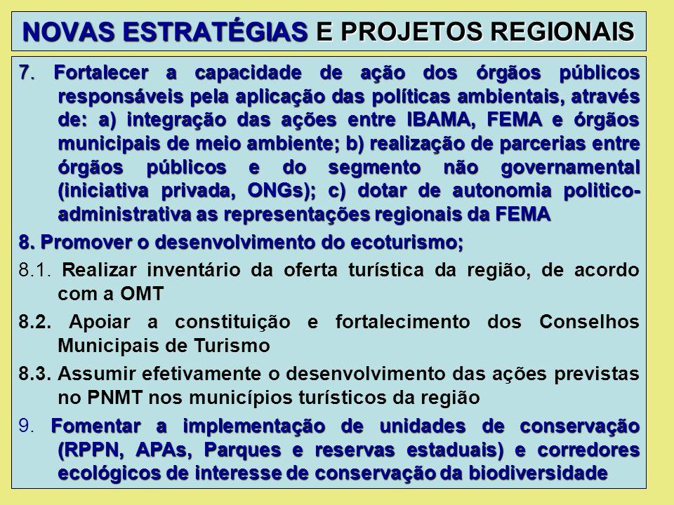 NOVAS ESTRATÉGIAS E PROJETOS REGIONAIS 7. Fortalecer a capacidade de ação dos órgãos públicos responsáveis pela aplicação das políticas ambientais, at