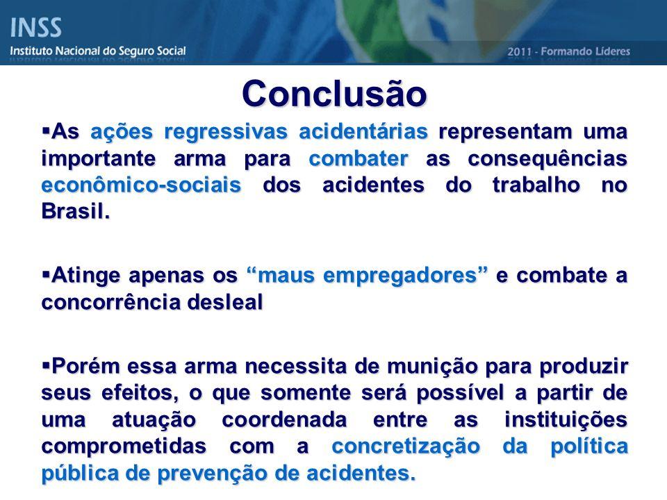 As ações regressivas acidentárias representam uma importante arma para combater as consequências econômico-sociais dos acidentes do trabalho no Brasil