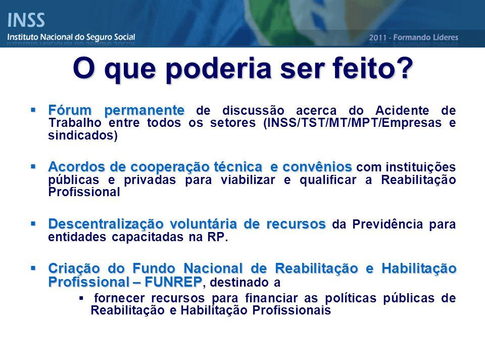 Fórum permanente Fórum permanente de discussão acerca do Acidente de Trabalho entre todos os setores (INSS/TST/MT/MPT/Empresas e sindicados) Acordos d