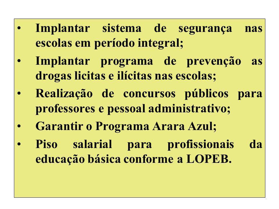 Implantar sistema de segurança nas escolas em período integral; Implantar programa de prevenção as drogas licitas e ilícitas nas escolas; Realização d