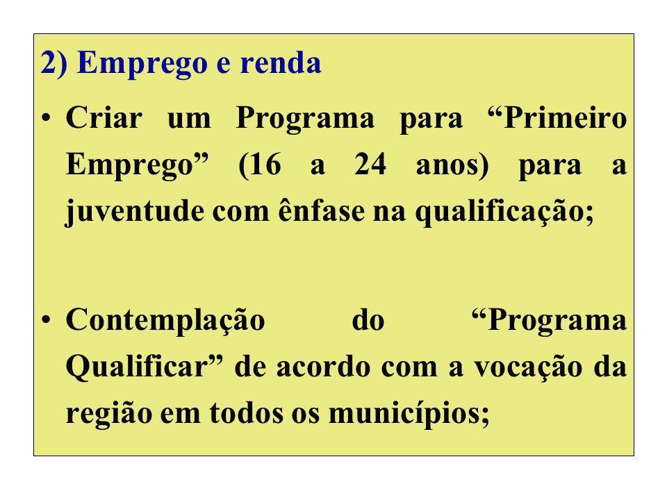 2) Emprego e renda Criar um Programa para Primeiro Emprego (16 a 24 anos) para a juventude com ênfase na qualificação; Contemplação do Programa Qualificar de acordo com a vocação da região em todos os municípios;