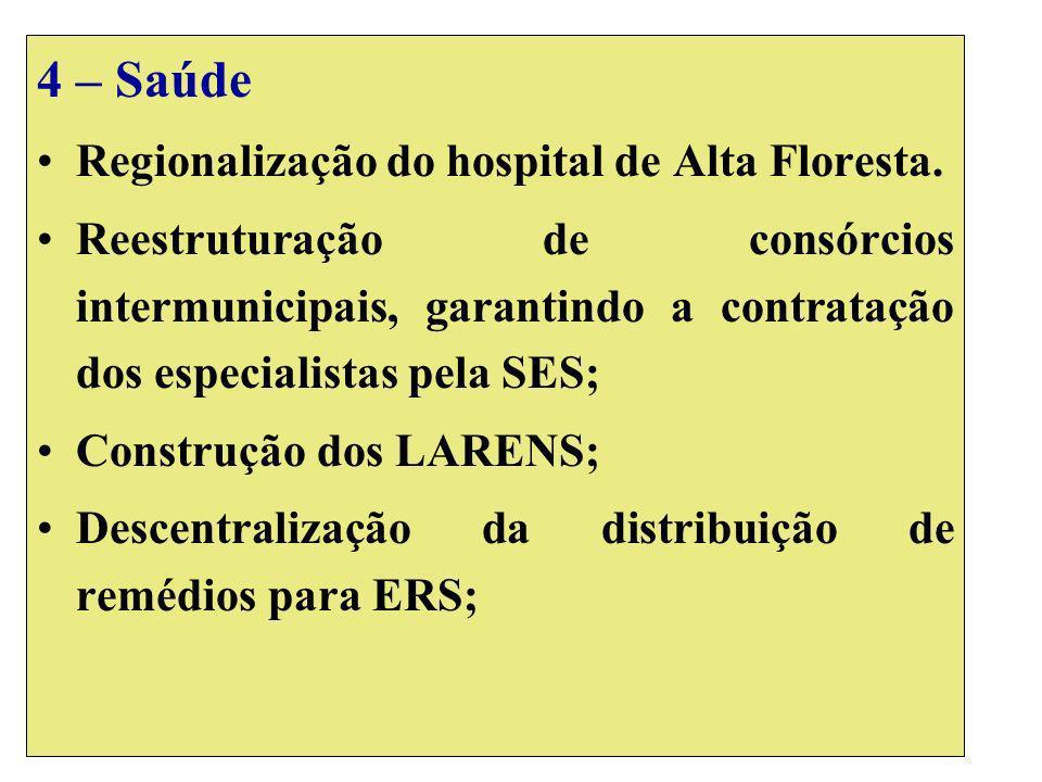 4 – Saúde Regionalização do hospital de Alta Floresta. Reestruturação de consórcios intermunicipais, garantindo a contratação dos especialistas pela S
