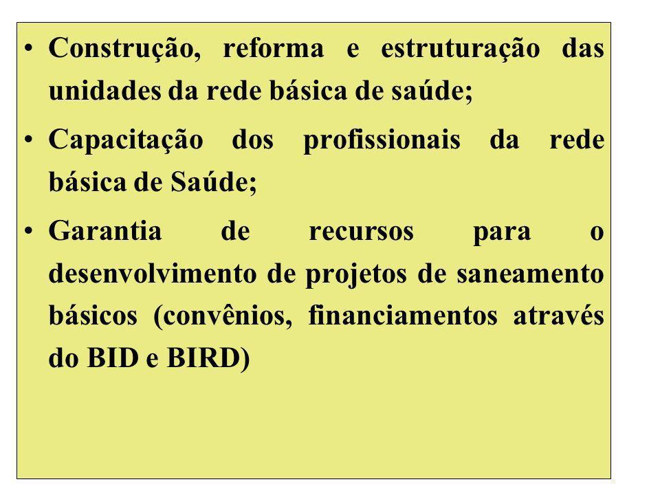 Construção, reforma e estruturação das unidades da rede básica de saúde; Capacitação dos profissionais da rede básica de Saúde; Garantia de recursos para o desenvolvimento de projetos de saneamento básicos (convênios, financiamentos através do BID e BIRD)